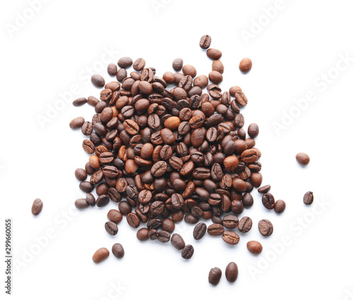 Heap of coffee beans on white background - 299660055