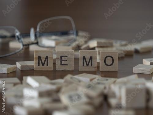 Fototapeta The concept of Memo represented by wooden letter tiles