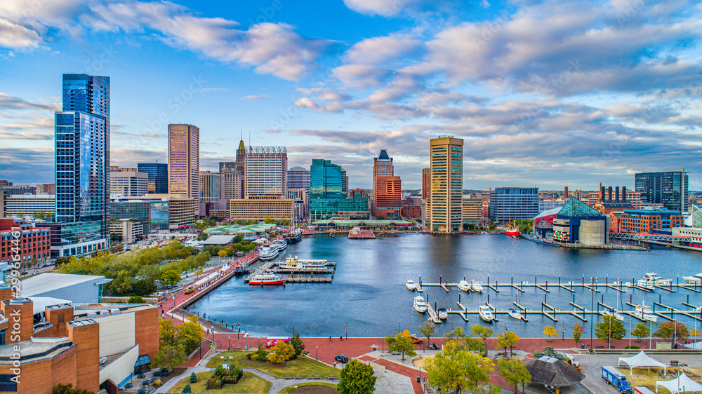 Fototapeta Baltimore, Maryland, USA Downtown Skyline Aerial
