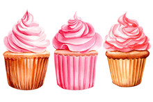 Set Of Pink Cupcakes On An Iso...