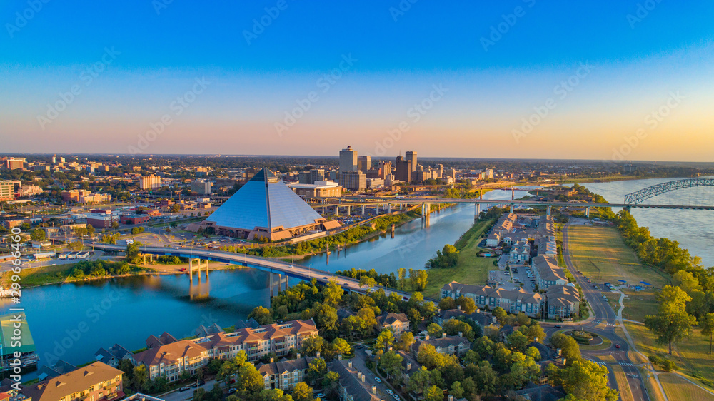 Fototapety, obrazy: Memphis, Tennessee, USA Drone Skyline Aerial Panorama