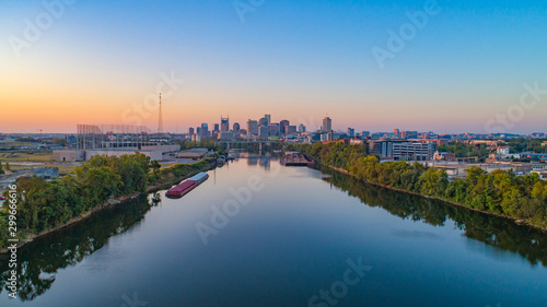 Nashville, Tennessee, USA Skyline Aerial and Cumberland River - 299666616