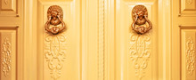 Two Golden Lion Head Door Knoc...