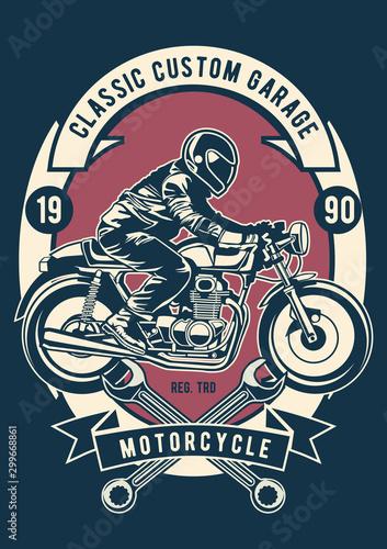 Plakaty motory   wektorowy-ilustrator-klasyczny-niestandardowy-garaz