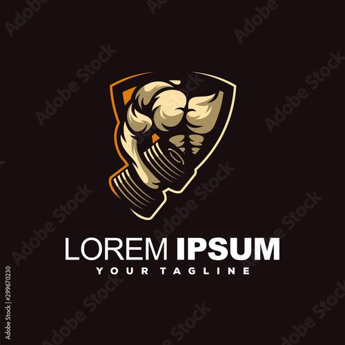 Vászonkép awesome fitness gym logo design