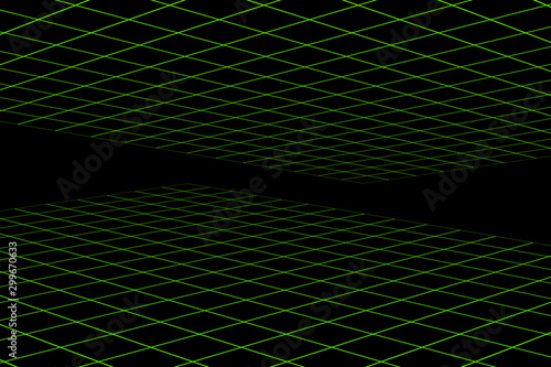 Fotografía An abstract green and black grid background image.