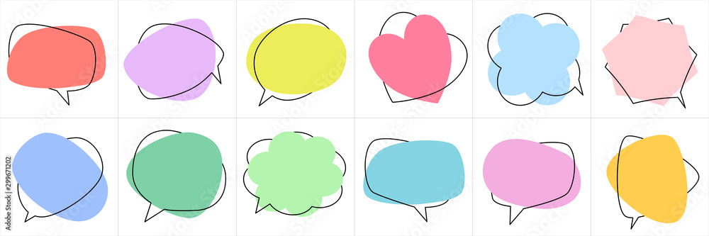 Fototapeta Set of flat colorful bubble speech vector. Banners, price tags, stickers, posters, badges. Isolated on white background.
