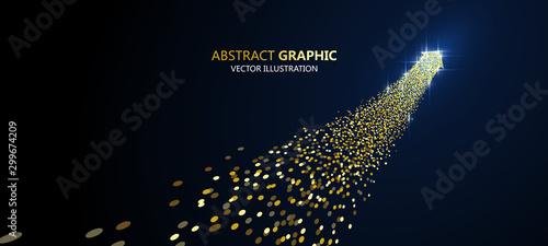 Cuadros en Lienzo An arrow of golden particles, business concept,vector illustration