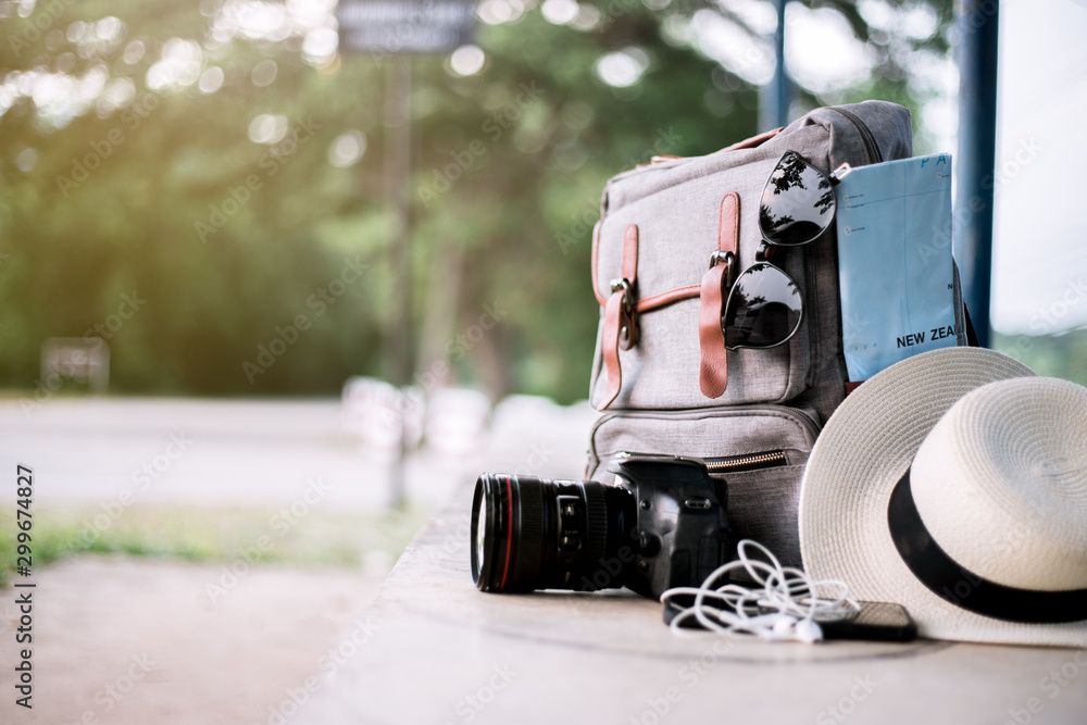 Fototapety, obrazy: backpack and accessories camera, sunglasses, hat amd map in travel day summer.