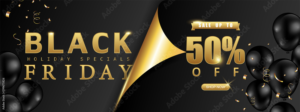 Fototapety, obrazy: Black Friday Sale promotion,poster or banner with page curl paper concept. Special offer 50% off sale decorated with balloons on black and gold background style. Vector illustration.