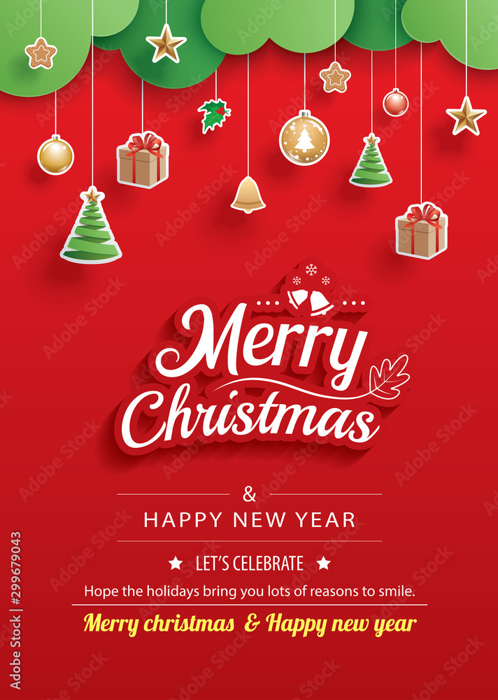 Fototapety, obrazy: Merry christmas and happy new year greeting card banner template. Use for poster, website, cover, flyer.