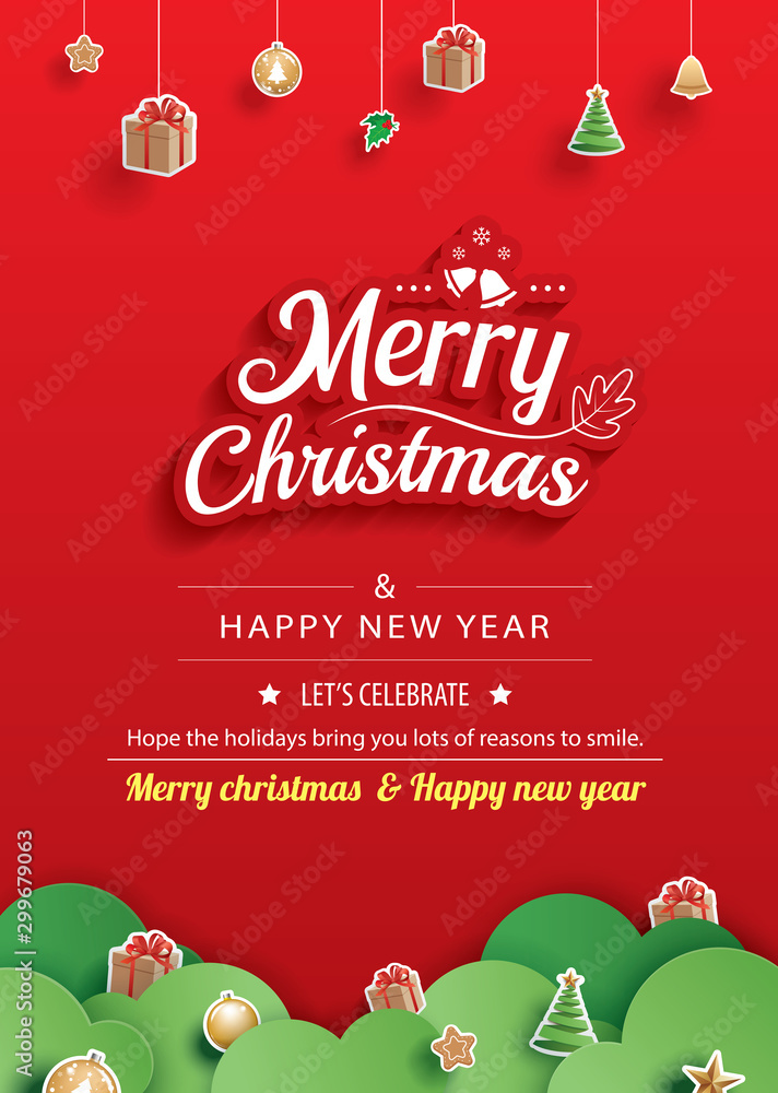 Fototapeta Merry christmas and happy new year greeting card banner template. Use for poster, website, cover, flyer.