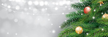 Christmas Tree And Blur Bokeh Lights Background. Xmas And Happy New Year. Vector Illustration For Greeting Card, Cover, Banner, Header Template.