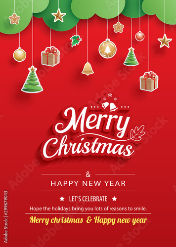 Fototapeta Merry christmas and happy new year greeting card banner template. Use for poster, website, cover, flyer. obraz