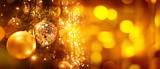 Fototapeta Kawa jest smaczna - Christmas tree and blur bokeh lights background. Xmas and happy new year. Use for greeting card, cover, banner, header template.