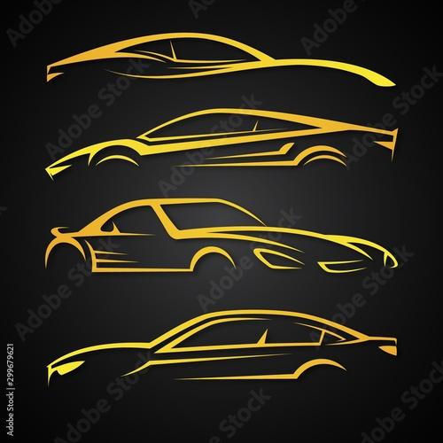 Fototapeta Creative set vector image for business of modern car emblems obraz