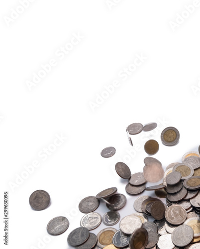 selective focus Thai baht coin with blurred movement above white background Slika na platnu
