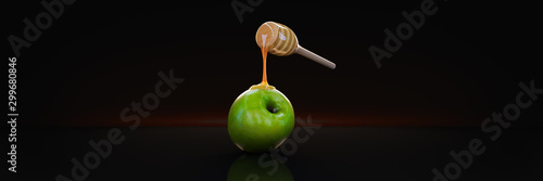 Photo honey and apple. 3d rendering