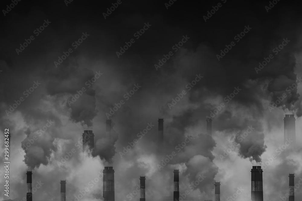 Fototapeta Air pollution smoke from factory chimneys dark scary sky with space for text - obraz na płótnie