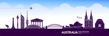 Australia Travel Destination Grand Vector Illustration.