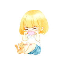 A Caucasian Girl In Casual Is Crying On The Floor Next To The Orange Tabby Cat. She Was Injured In The Knee. Watercolor Cartoon Style Illustration On A White Background.