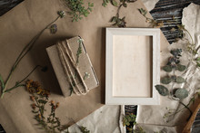 Mock Up Frame Craft Dry Herbs And Flat Lay Plants