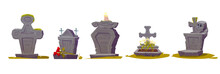 Tombstone With RIP Inscription, Old Texture And Green Moss, Cartoon Vector. Gravestones With Crosses, Burning Candles, Flowers And A Human Skull, Halloween Illustration Isolated On White Background