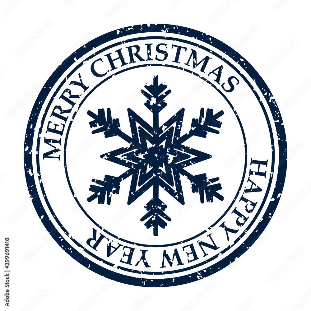 Fototapety, obrazy: Merry Christmasand Happy New Year grunge dirty post stamp snowflakes icon