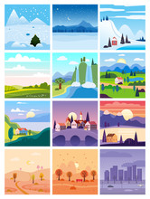 Calendar Set Landscape Winter, Spring, Summer, Autumn In Flat Minimal Simple Style