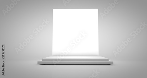 Photo 3D render illustration of white product pedestal podium or easelback