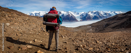 The John Garner pass with the glacier grey behind on the O trek of Torres del Pa Canvas Print