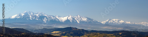 Obraz Tatra Mountains Panorama in April from Pieniny. - fototapety do salonu