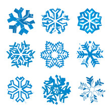 Grunge Expressive Snowflakes. Set Of Nine Grunge Stylized Snowflakes. Isolated On White Background. Vector Available.