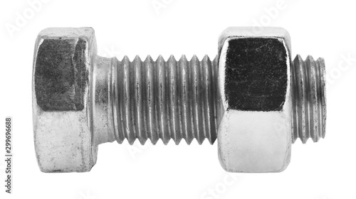 Fotografía  Metal bolt with nut isolated on a white background.