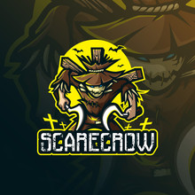 Scarecrow Mascot Logo Design Vector With Modern Illustration Concept Style For Badge, Emblem And Tshirt Printing. Angry Scarecrow Illustration With Weapons In Hand.