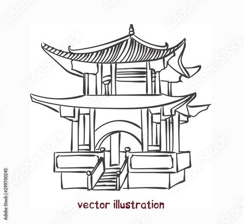 Fototapeta vector sketch of chinese pagoda