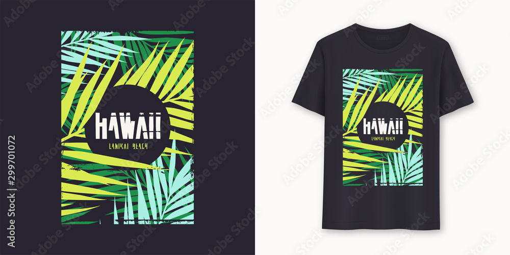 Fototapety, obrazy: Hawaii Lanikai Beach stylish graphic tee vector design, print
