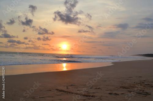 Beautiful Nature Orange Sunset on The Beach View. Warm Colour - Image.