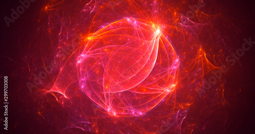 Tuinposter Bol Fractal 3D rendering abstract light background