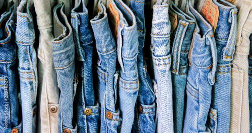 Fotografie, Obraz A rack of second hand jeans