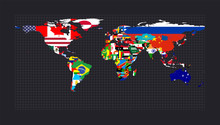 Worldmapwith Flags Of Each Country. Equirectangular (plate Carree) Projection. Map Of The World With Meridians On Dark Background. Vector Illustration.