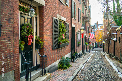 Acorn Street at Christmas Time: Classic All-American New England Cobblestone S Wallpaper Mural