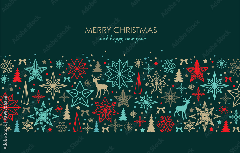 Fototapety, obrazy: Christmas greeting card/ poster/ cover with stars, snowflakes, Christmas tree and reindeer
