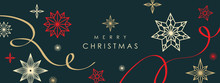 Christmas Greetings Banner With Swirl Ribbons And Stars On Black Colour Background