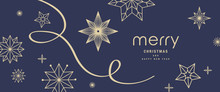 Christmas Greetings Banner With Swirl Ribbons And Stars On Blue Colour Background