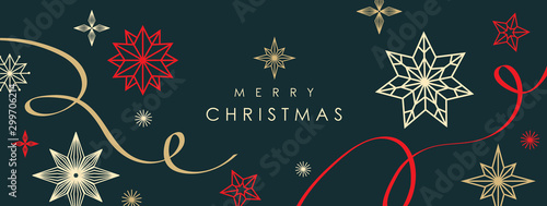Christmas greetings banner with swirl ribbons and stars on black colour background - 299706214