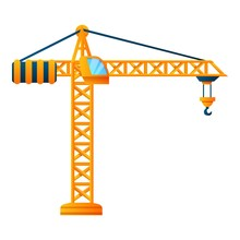 Construction Crane Icon. Carto...