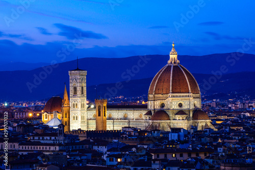 The Duomo (Cathedral of Santa Maria del Fiore) Rising Above the City at Night, F Canvas Print
