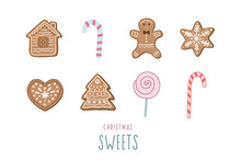 Set Of Christmas Sweets. Vector Illustration In Doodle Style. Gingerbread Cookies, Gingerbread Man, Candy Cane.