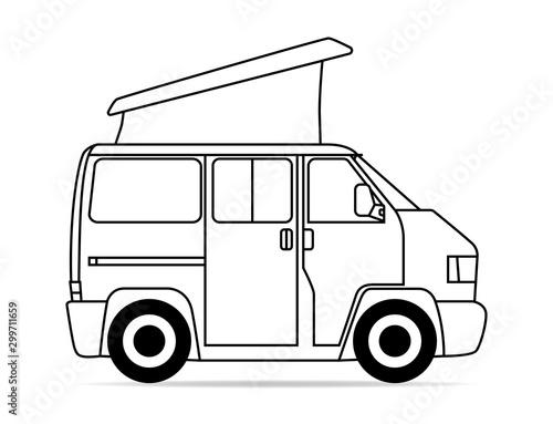 Obraz na plátně Bus Camper Faltdach Kontur